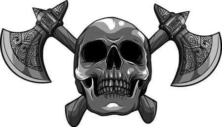 vector illustration of human skull with ax Ilustração