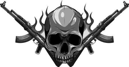 vector Skull with guns Ilustração