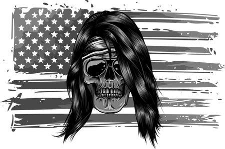 vector illustartion of skull with american flag