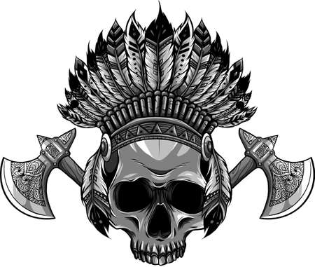 Vector illustration of Indian skull and tomahawk