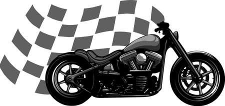 Old vintage black bobber bike with race flag Ilustração