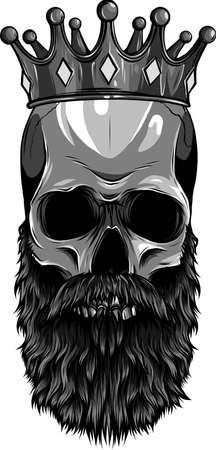 vector illustration of king skull with beard Ilustração