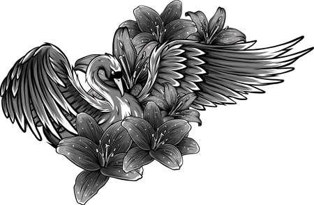 vector illustration of Swan with Flower design