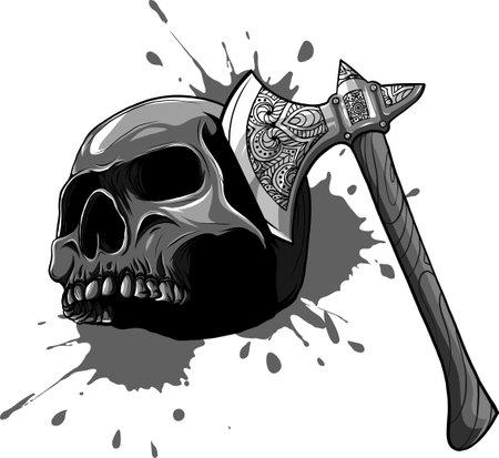 vector illustration of skull head murdered by ax Ilustração