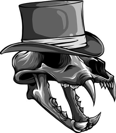 vector illustration of skull of tiger with hat