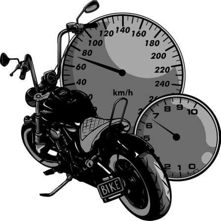 custom Motorcycle with speedometer vector illustration design Ilustração