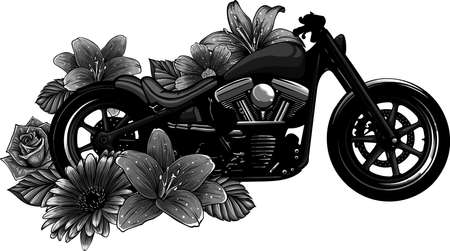 vector illustration of motorcycle bike with flower