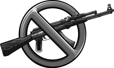 Silhouette of assault rifle with sign over it - weapons ban.