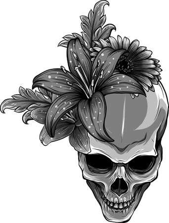 Skull and Flowers Vector Illustration Ilustração