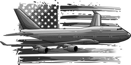 vector illustration of airplane with american flag