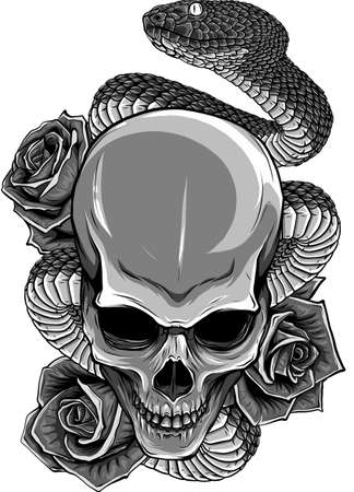 vector illustration of skull, roses and snake