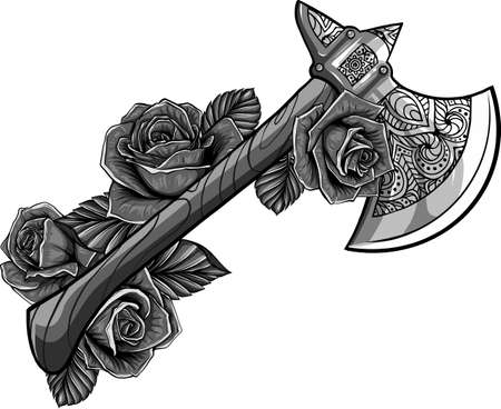 vector illustration of axe with roses design