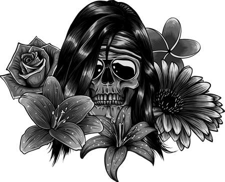 vector illustration of woman Skull with flower Lily Banco de Imagens