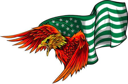 vector illustation red eagle with american flag Ilustração