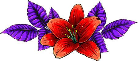 vector illustration of lily flower with leaves Ilustração