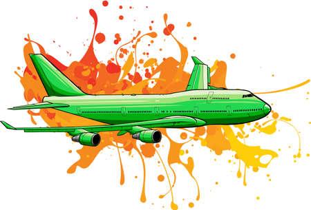 vector illustration art of colored Airplane flying Ilustração