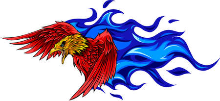 vector illustration of eagle with flames design