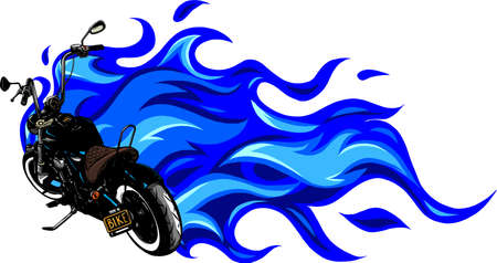 custom motorcycle with flames vector illustration design Ilustração