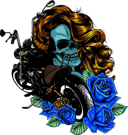 vector illustration Motorcycle with woman skull and roses