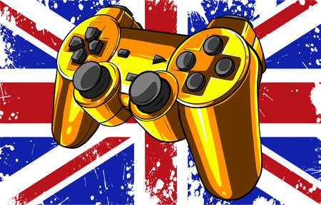 Gaming controller with england flag vector illustration