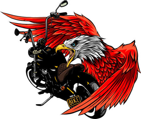 vector illustraton of motorcycle with the head eagle
