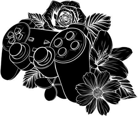 game pad with a flower for gaming vector
