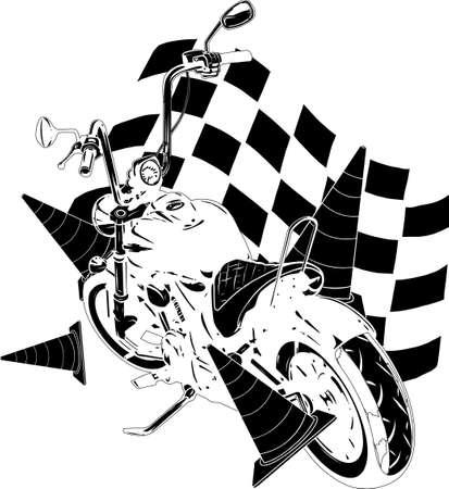Old vintage black bobber bike with race flag Vectores