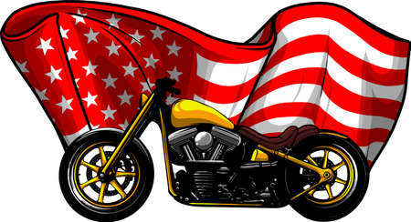 chopper motorcycle with american flag vector illustration Vectores