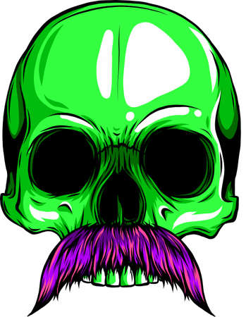 vector illustration of Human skull with moustache Vectores