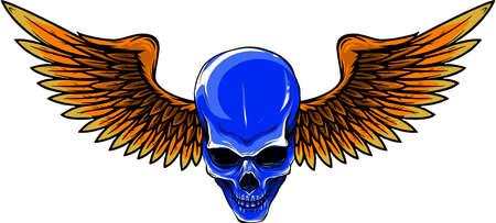 vector illustration of Skull with bird wings