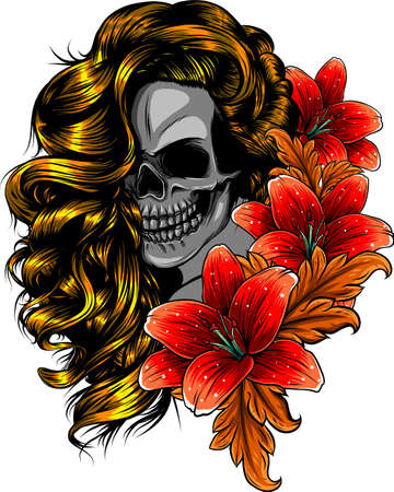 vector illustration of woman Skull with flower Lily Foto de archivo