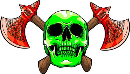 vector illustration of human skull with ax Vectores