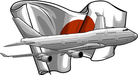 vector illustration of Airplane with italian flag