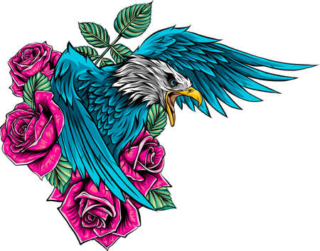 vector illustraion of eagle with flower roses