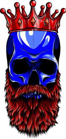 vector illustration of king skull with beard Vectores