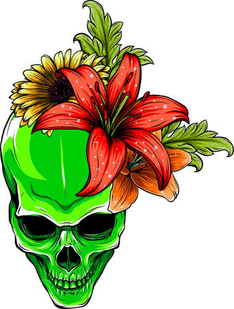 human Skull and Flowers Vector Illustration design Vectores