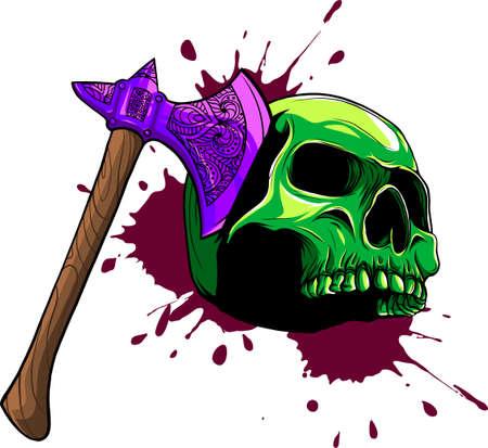 vector illustration of skull head murdered by ax Vectores