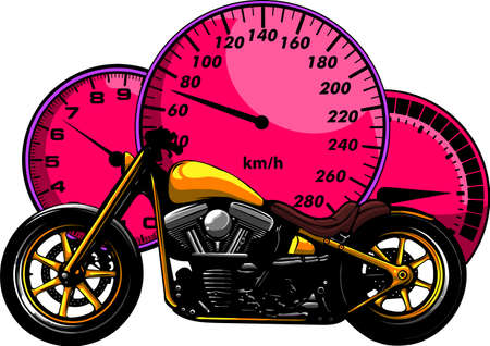 custom Motorcycle with speedometer vector illustration design Vectores