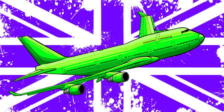 Vector Illustration of a passenger plane flying over the flag of great Britain.
