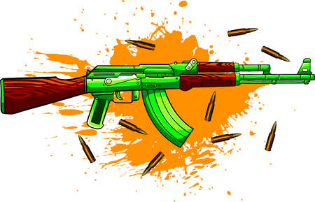 vector illustration of Ak-47, bullets and blood
