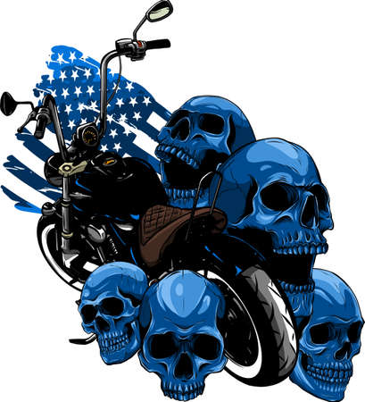 vector motorcycle with skulls and american flag