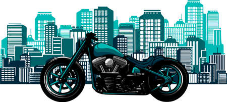 illustration bobber style motorcycle with the city in the background Vectores