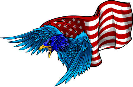 EAGLE INDEPENDENCE USA FLAG AMERICA VECTOR WHITE BACKGROUND