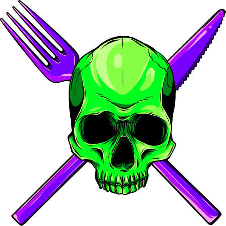 Human Skull with a Spoon and Fork. Illustration for design