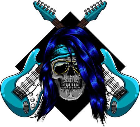 Electric Guitar and skull vector illustration design