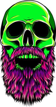 Bald, bearded hipster skull vector