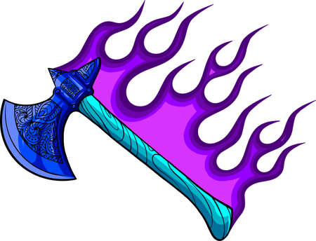 illustration of ax with flames in white background Vectores