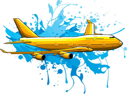 vector illustration art of colored Airplane flying Vectores