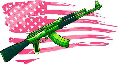 illustration of USA flag with an AK 47 Rifle