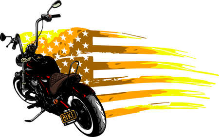 chopper motorcycle with american flag illustration Vectores